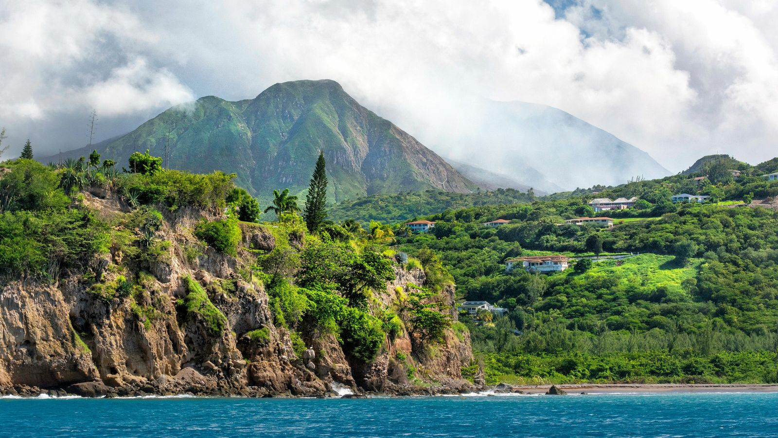 The Caribbean island is home to the smoking Soufrière Hills volcano.
