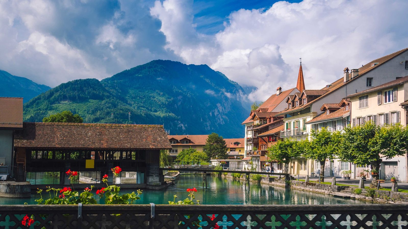 Interlaken is a resort town in the Bernese Oberland region of central Switzerland.