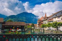 Interlaken is a resort town in the Bernese Oberland region of central Switzerland.