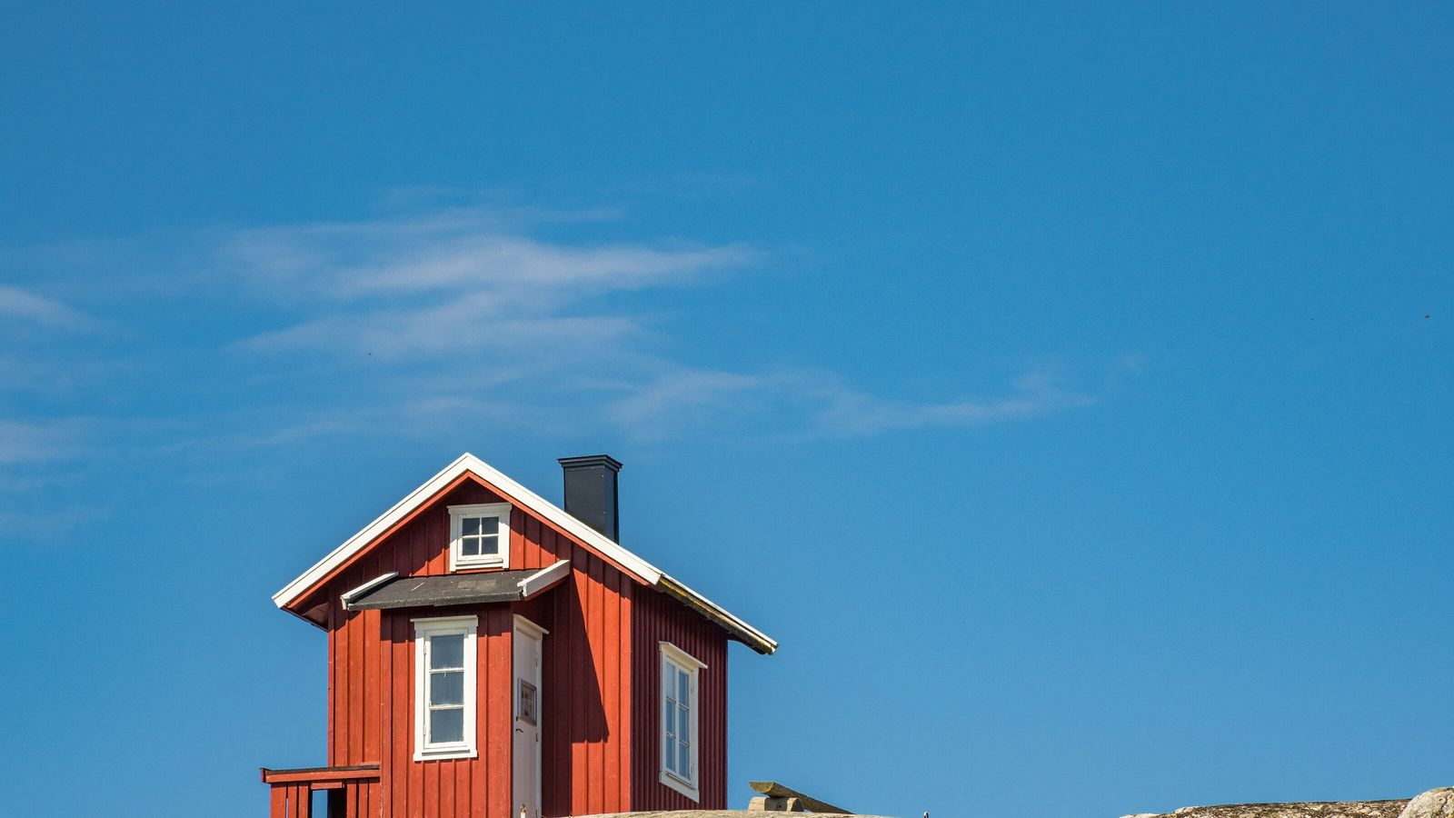A lighthouse at the Island of Vrångö is the most southerly island of the Gothenburg archipelago