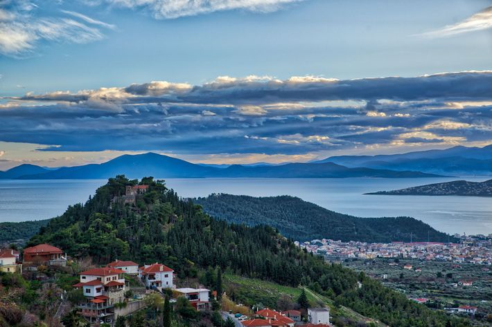 Greece's Mount Pelion rises sharply on the seashore like a windbreaker, sheltering the plains of Thessaly ...