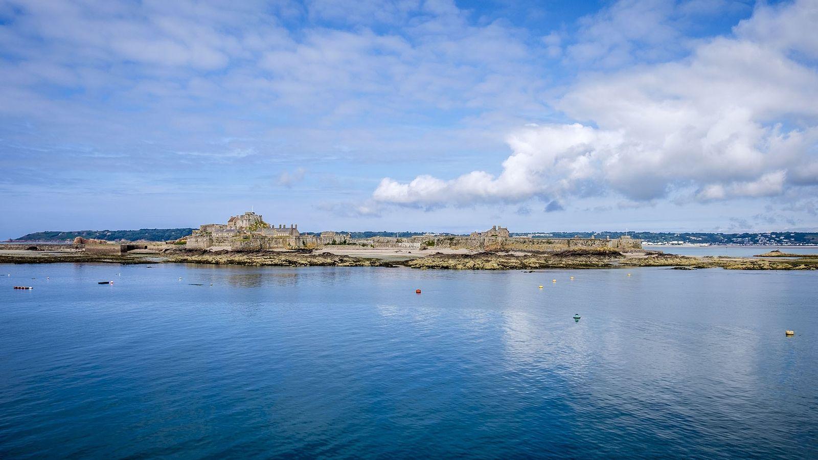 Elizabeth Castle on tidal island.