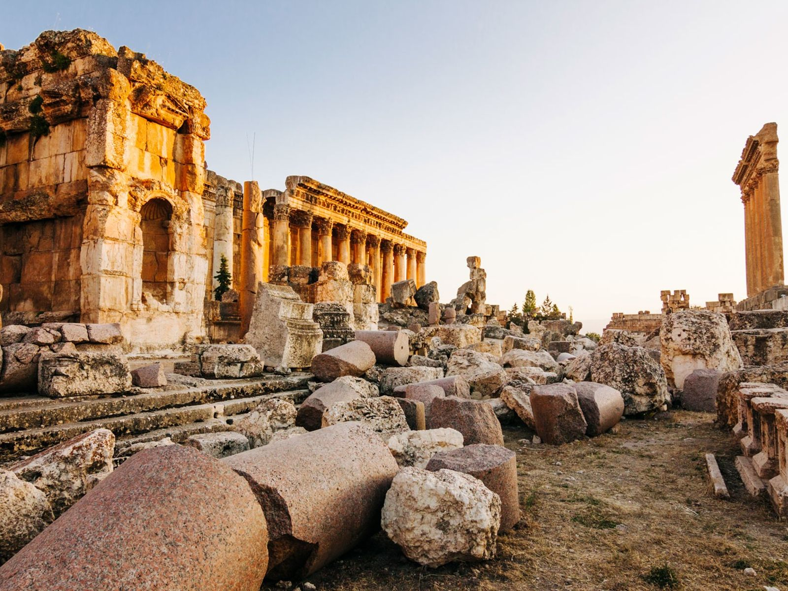 The ruined Roman temples of Jupiter and Bacchusat Baalbek, an UNESCO World Heritage Site.