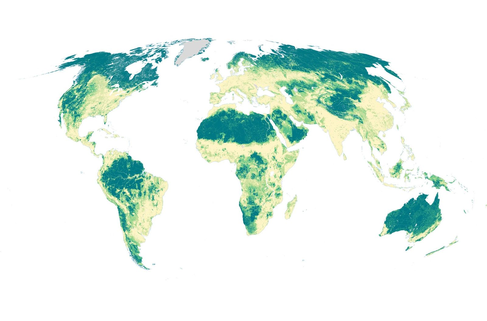 This map shows where on Earth humans aren't