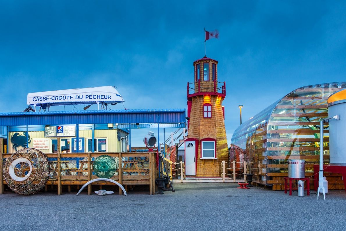 Diners can eat inside a giant lobster trap at the Le Casse-croute du Pêcheur lobster shack ...