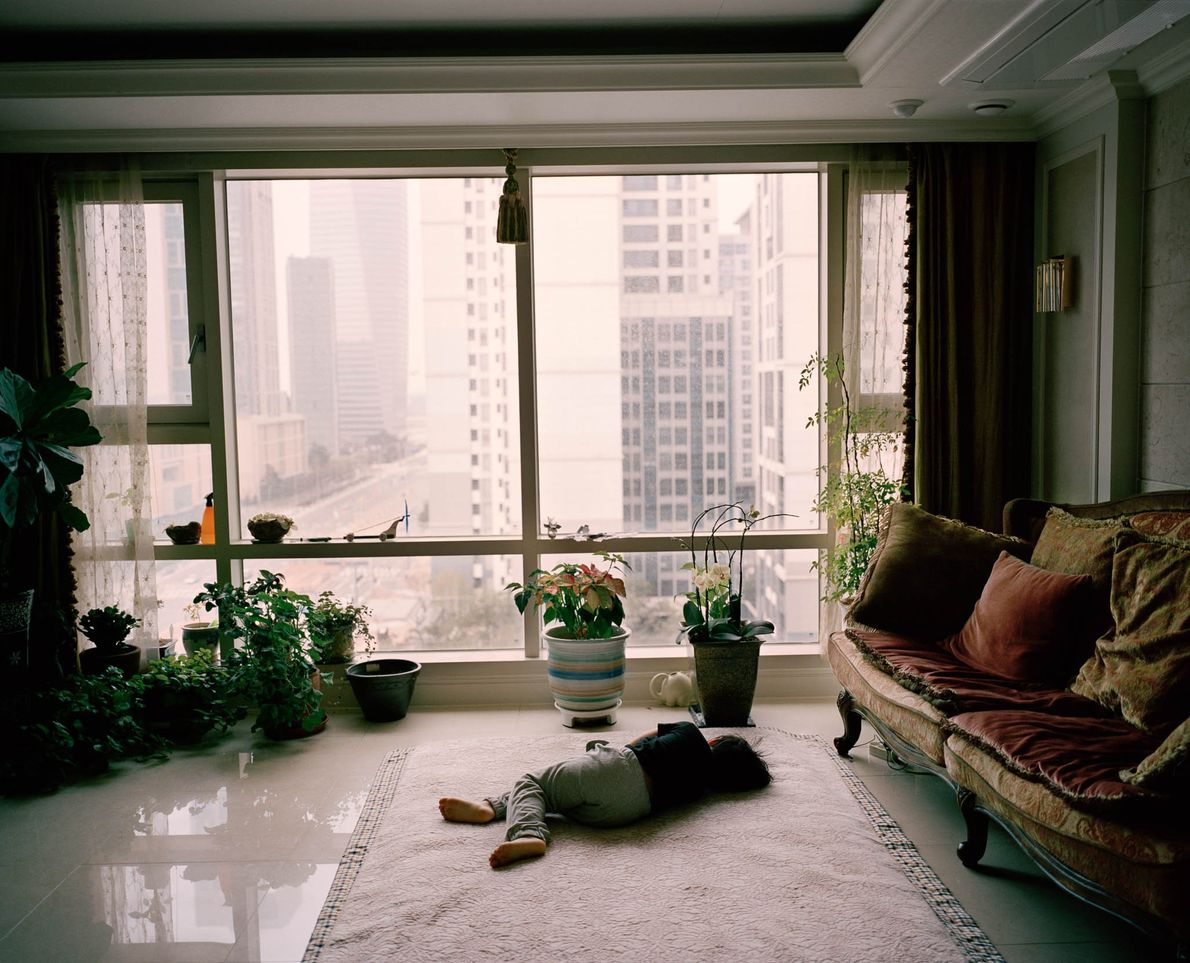 The interior of an apartment in New Songdo, South Korea.