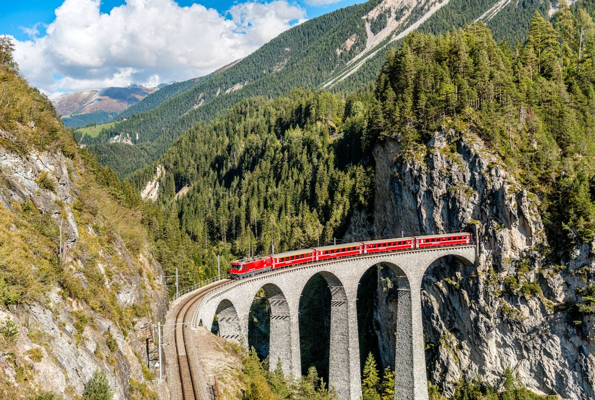 The Glacier Express distills the Alpine experience into eight hours of snowy peaks, mountain meadows, and ...