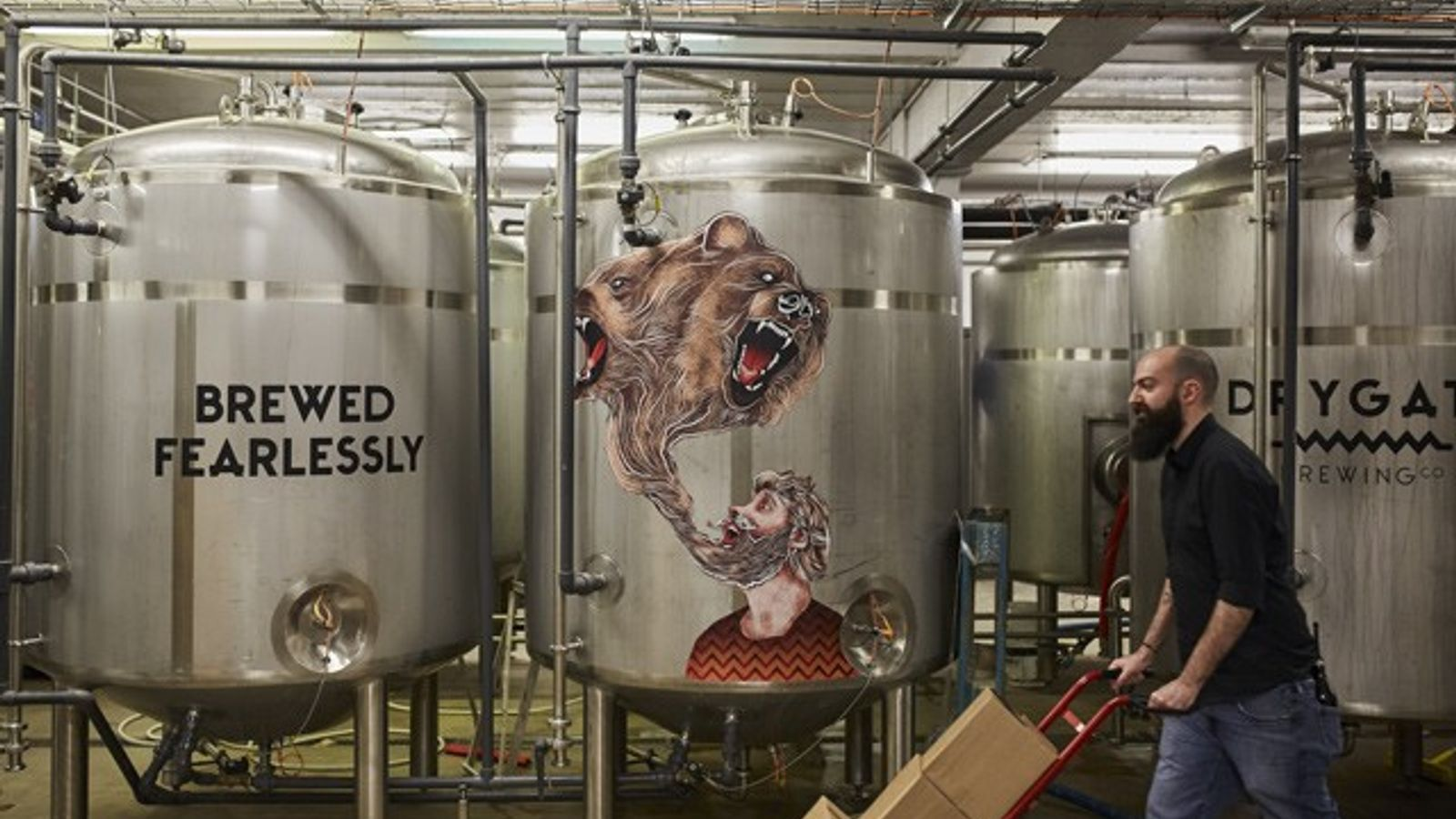 Fermentation tanks at Drygate Brewery