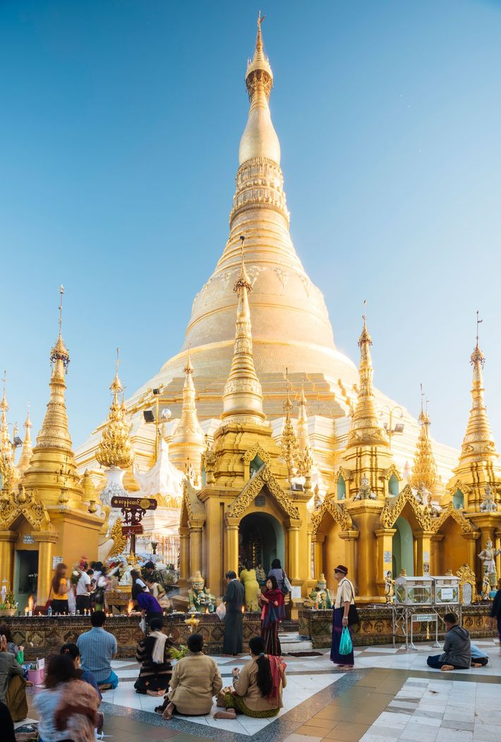 In Yangon, Myanmar's commercial capital, the Shwedagon Pagoda is said to be sheathed with up to ...