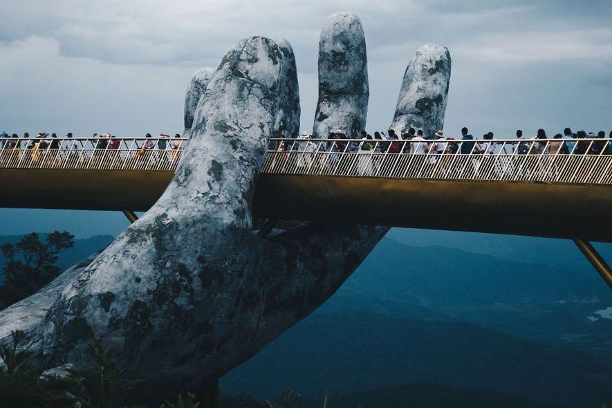 Giant Hands Cradle Vietnam's New Golden Bridge