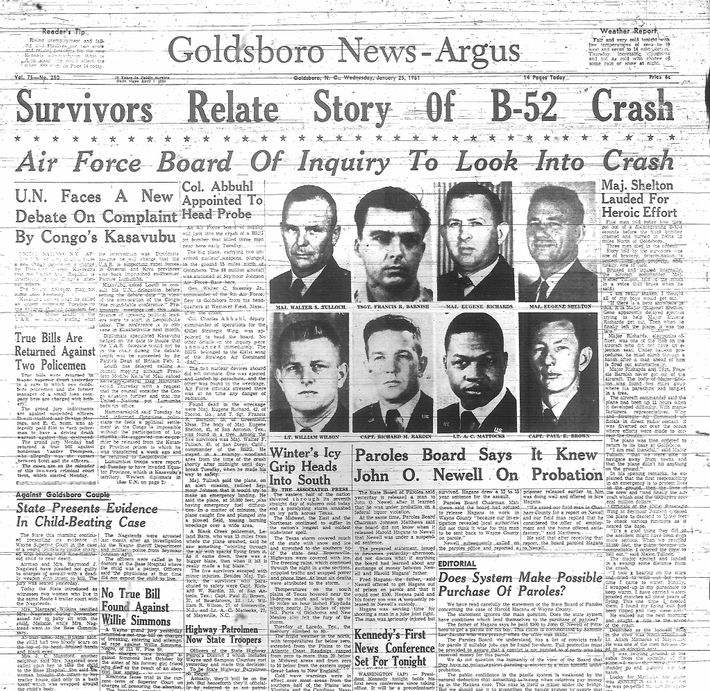 The B-52 crash was front-page news in Goldsboro and around the country. Five of the plane's ...