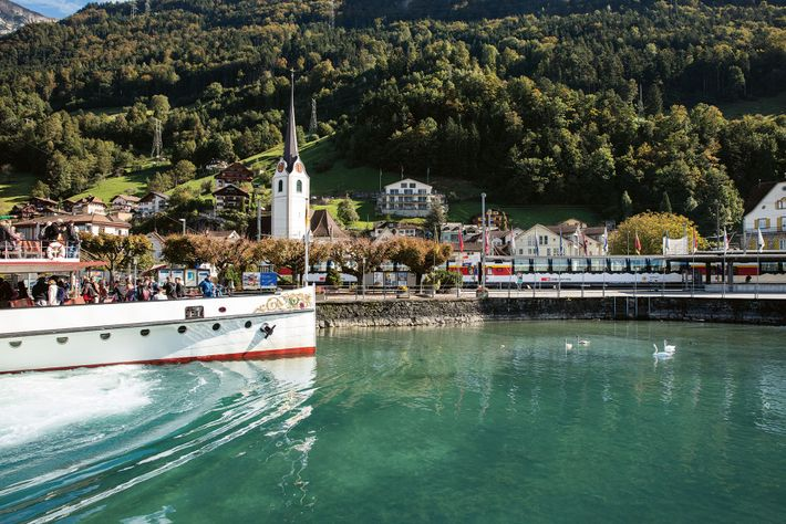 A paddle steamer forms the first leg of the 113-mile journey on the Gotthard Panorama Express from Lucerne ...