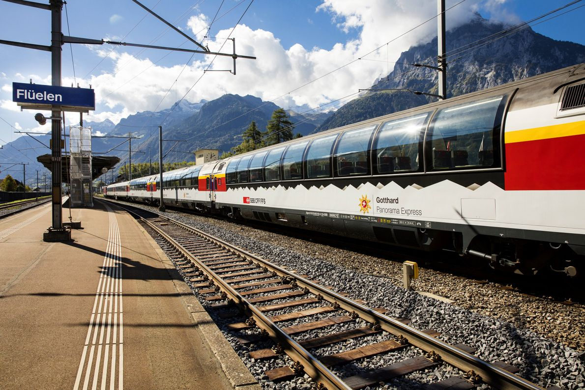 Travellers on the Gotthard Panorama Express begin with a steamship crossing of Lake Lucerne; then they ...