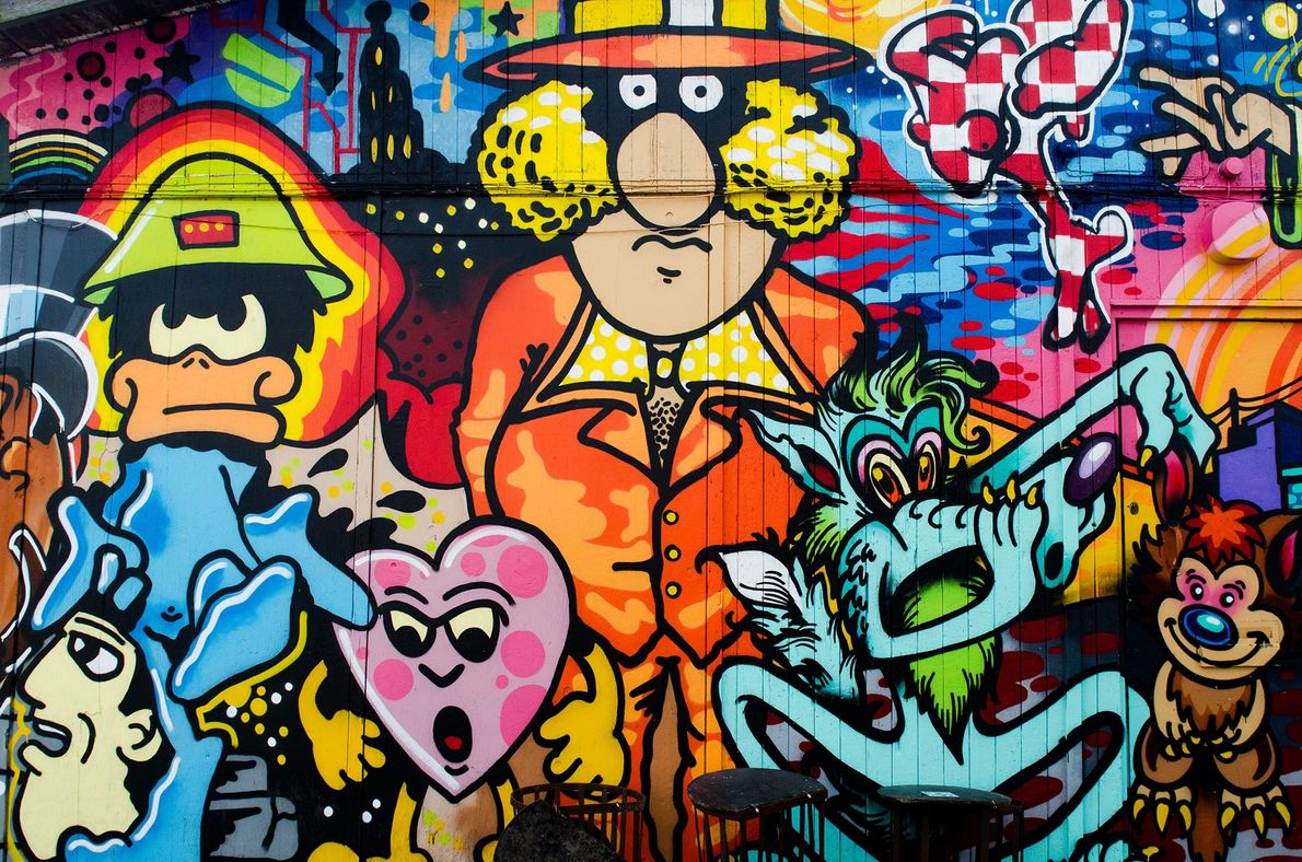 Graffiti is the predominant type of art around the city and illustrates not only the Danish ...