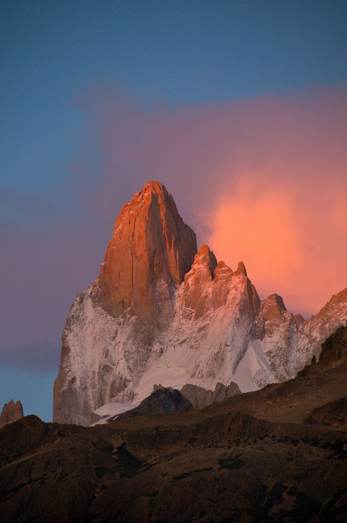 Mount Fitz Roy features sky-puncturing peaks on the border of Argentina and Chile.