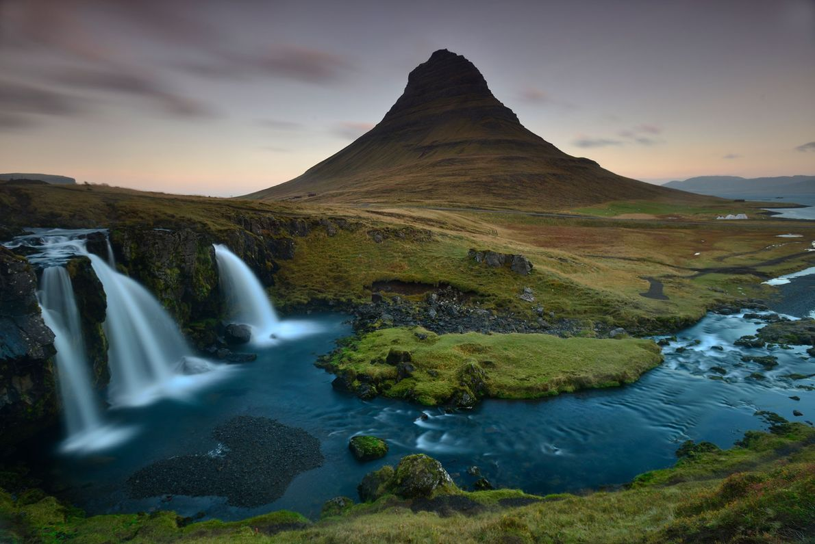 """Surrounded by beaches, Iceland's Kirkjufell (or """"church mountain"""") holds bird and fish fossils."""