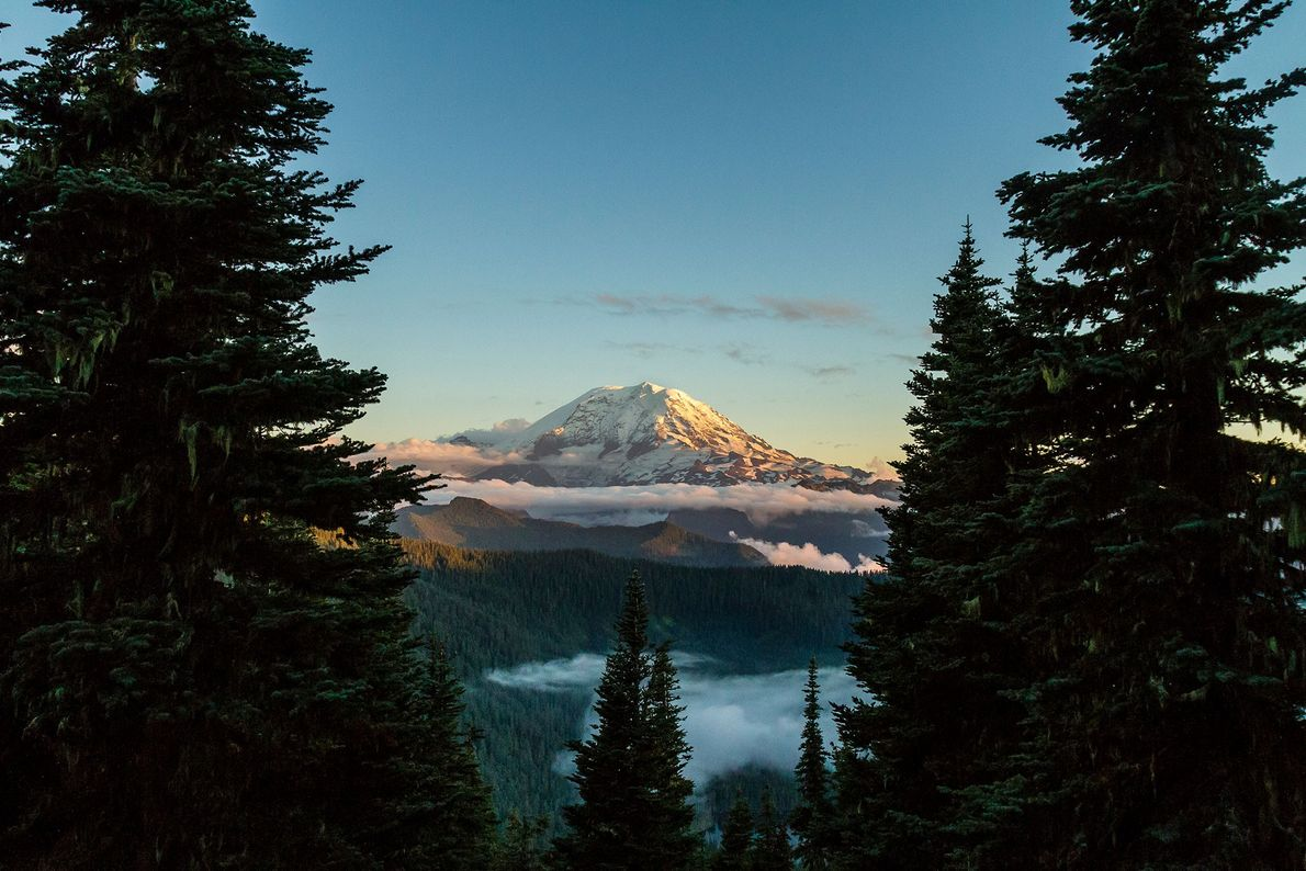 Mount Rainier is an active volcano and the highest peak in the Cascade Range.