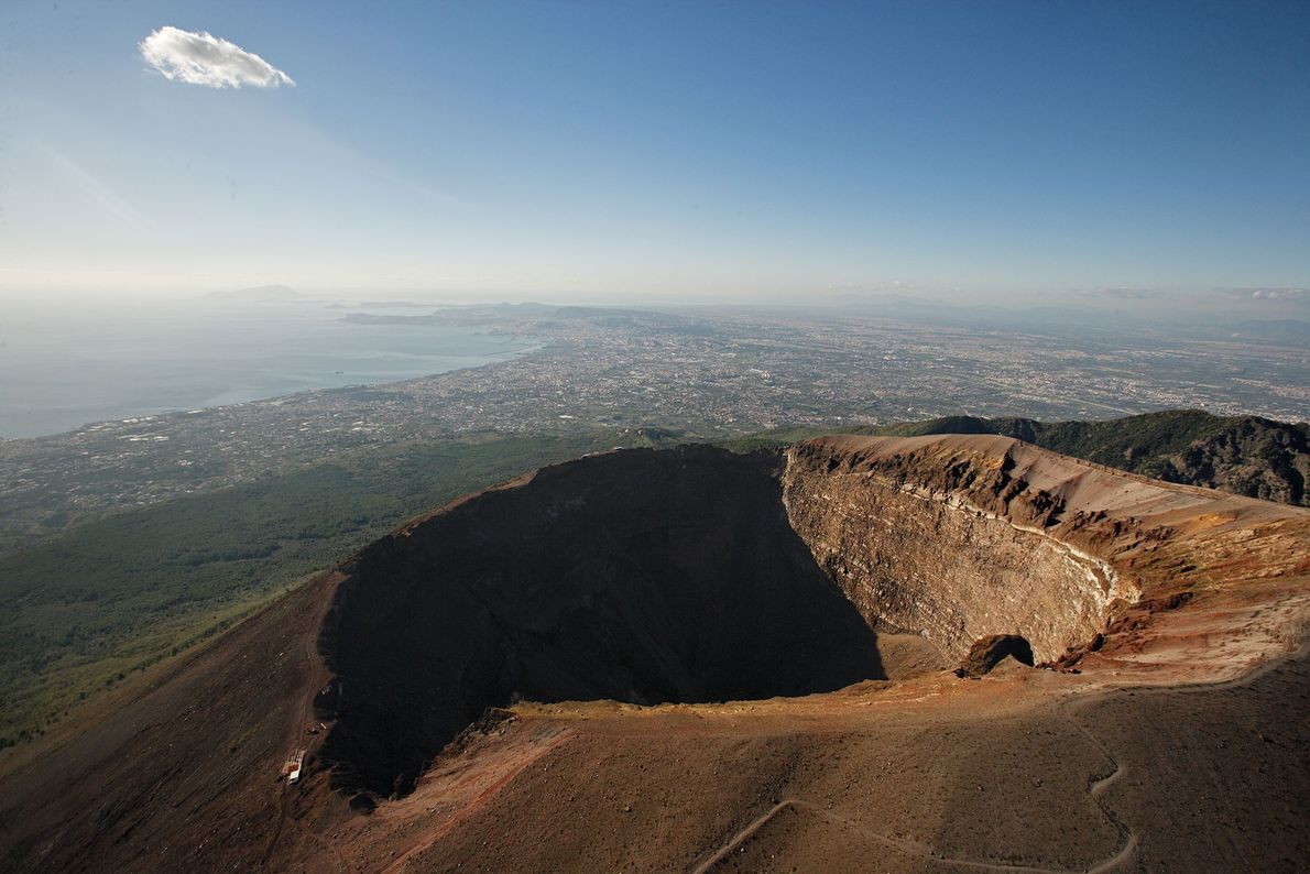 In 79 C.E., Mount Vesuvius erupted and buried the city of Pompeii under ash.