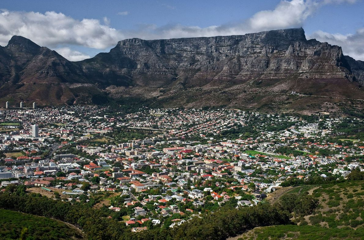 Overlooking Cape Town, South Africa, Table Mountain gets its tubular shape from horizontal layers of sandstone, ...