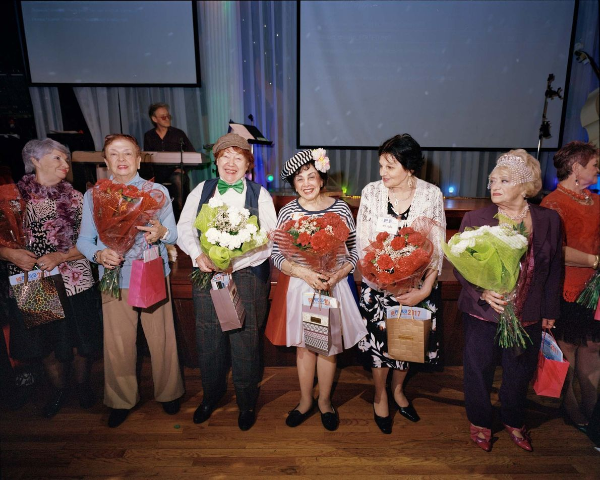 Contestants line up for the awards ceremony. All received flowers and awards from local sponsors including ...