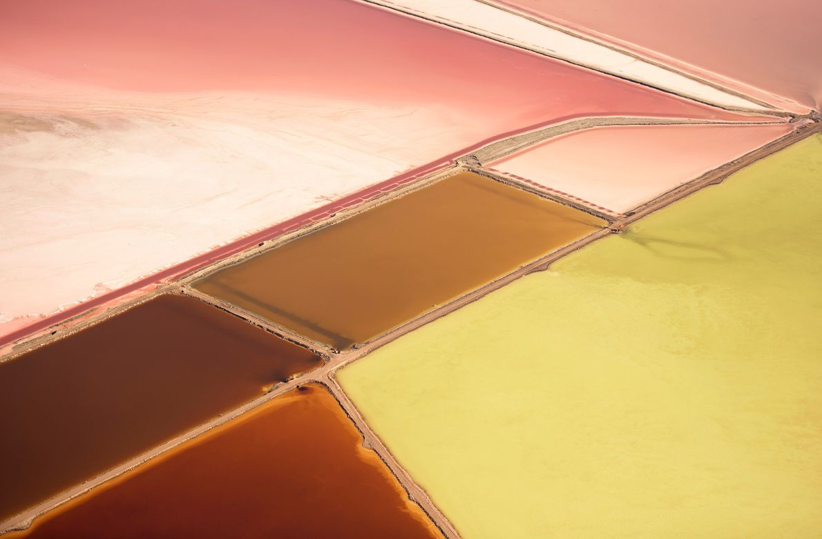 Colourful salt flats speckle Utah's Great Salt Lake.