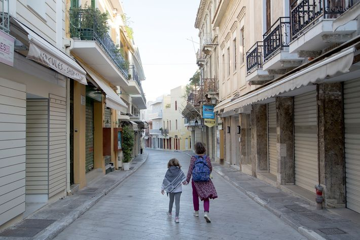 An empty street in Athens's Plaka district on November 9, 2020. In Greece, the second wave ...