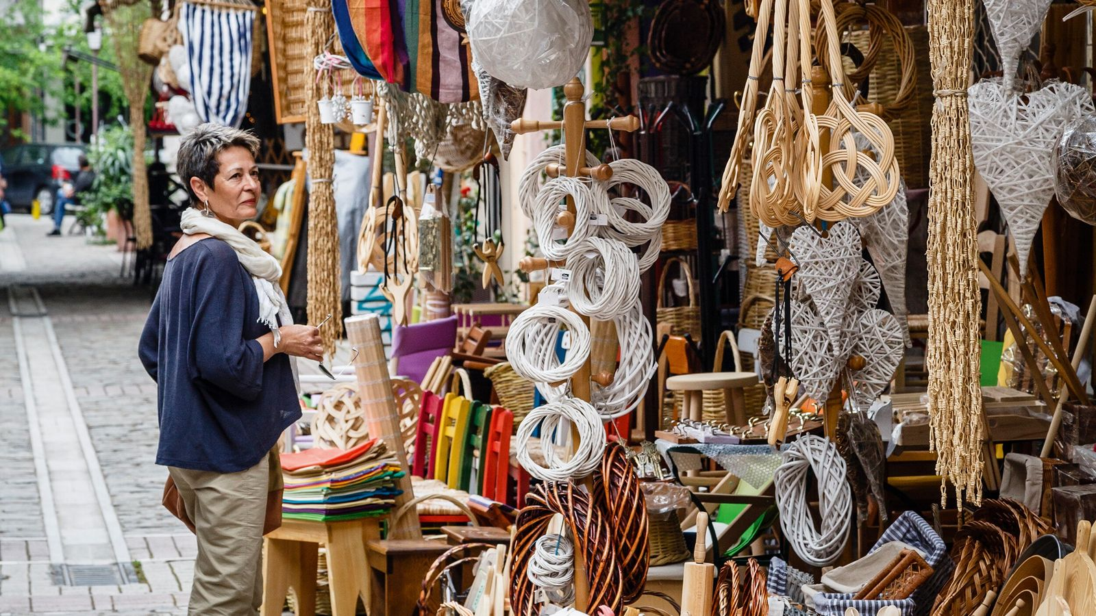 Wickerwork stalls in Athonos Square in Thessaloniki.