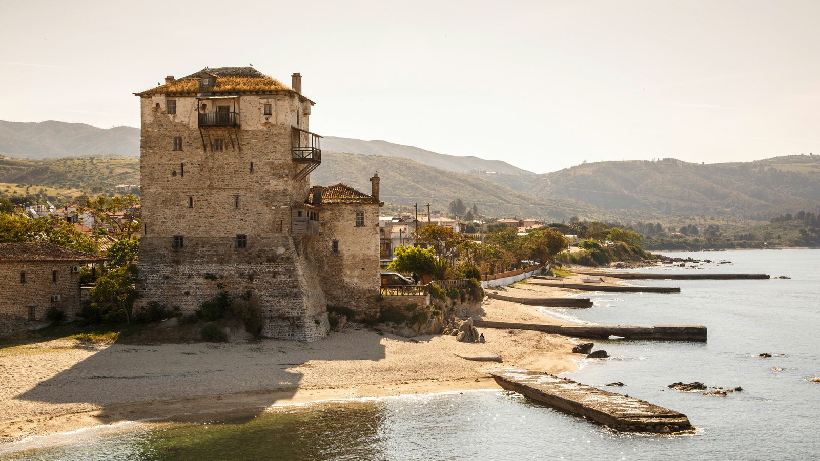 The fortified tower at Ouranoupoli in Athos, one of the three peninsulas in the Halkidiki region.