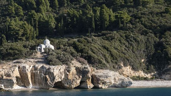 A monastery found on top of Mount Athos
