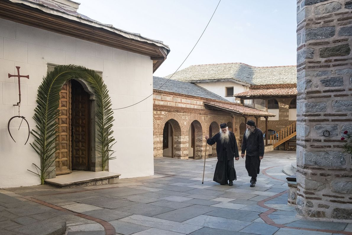 Monks at Osiou Grigoriou Monastery