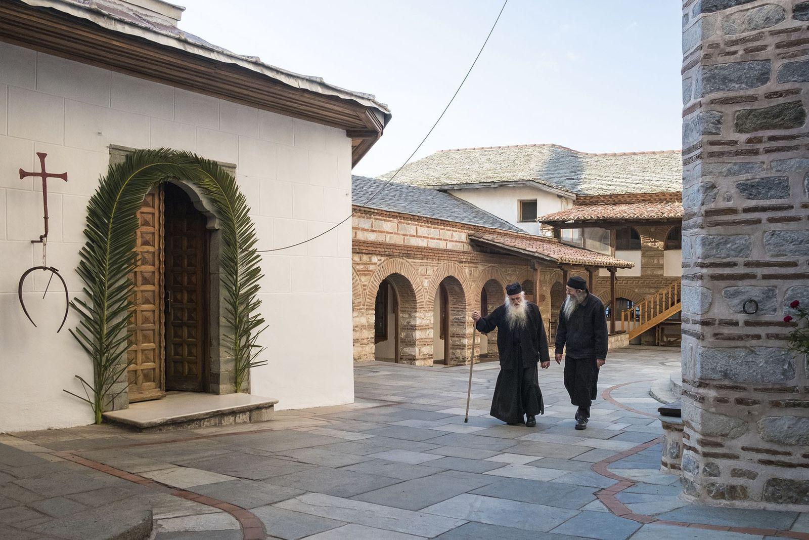 Monks at Osiou Grigoriou Monastery
