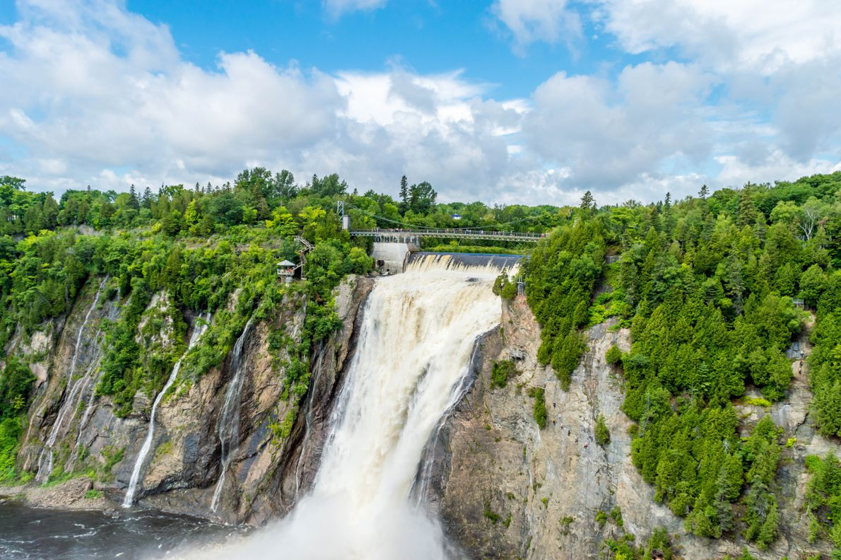 Montmorency Falls is a short drive from downtown Québec City and has a suspension bridge over ...