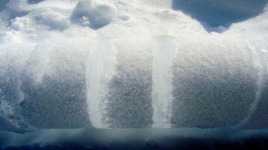 This photo is a segment of a firn core, essentially a baby ice slab that eventually ...