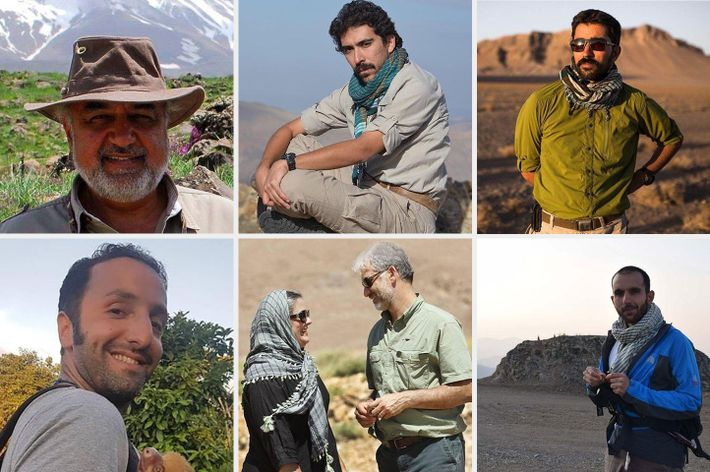 Seven of the eight detained conservationists, clockwise from top left: Morad Tahbaz, Amir Hossein Khaleghi, Taher ...