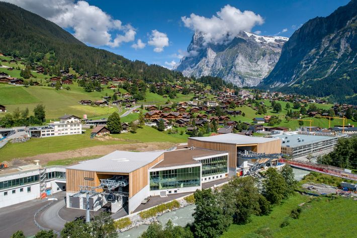 The new Eiger Express terminal in Grindelwald includes shops, bars, and a ski depot.