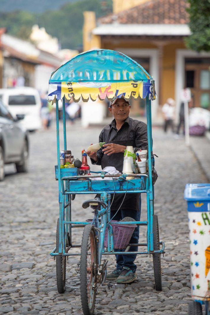 A tortilla cart in the colonial city of Antigua.