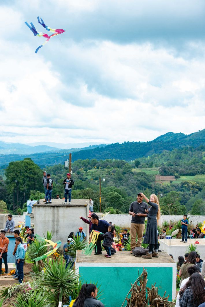 Kites are flown in the main cemetery of Santiago Sacatepéquez on 1 November.