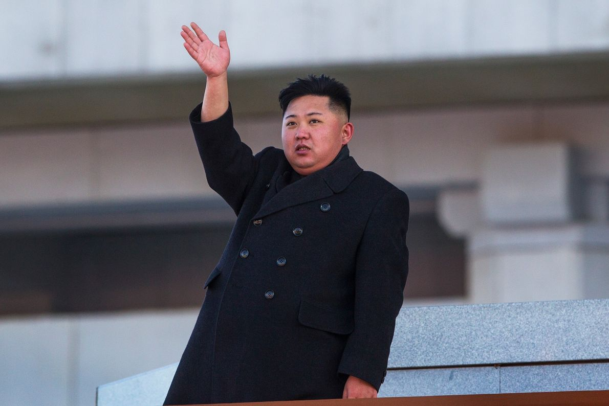 New North Korean leader Kim Jong Un, waves at Kumsusan Memorial Palace in Pyongyang after reviewing ...