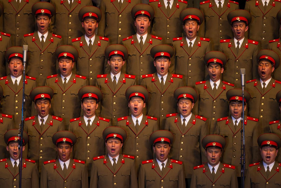 A North Korean choir sings during a concert in Pyongyang.