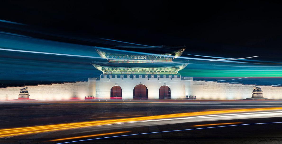 Gwanghwamun Gate in Seoul, shot on 11th February 2018. Traffic keeps crossing your framing, but I ...