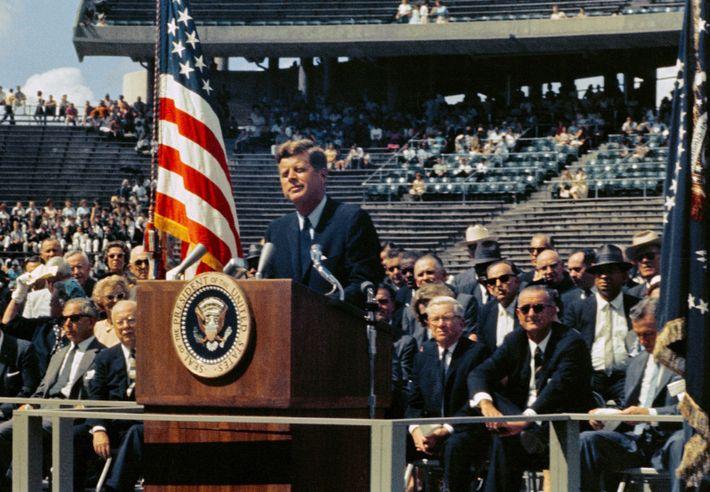 John F Kennedy giving his famous speech at Rice University, Houston, 12 September 1962. Kennedy's address is ...