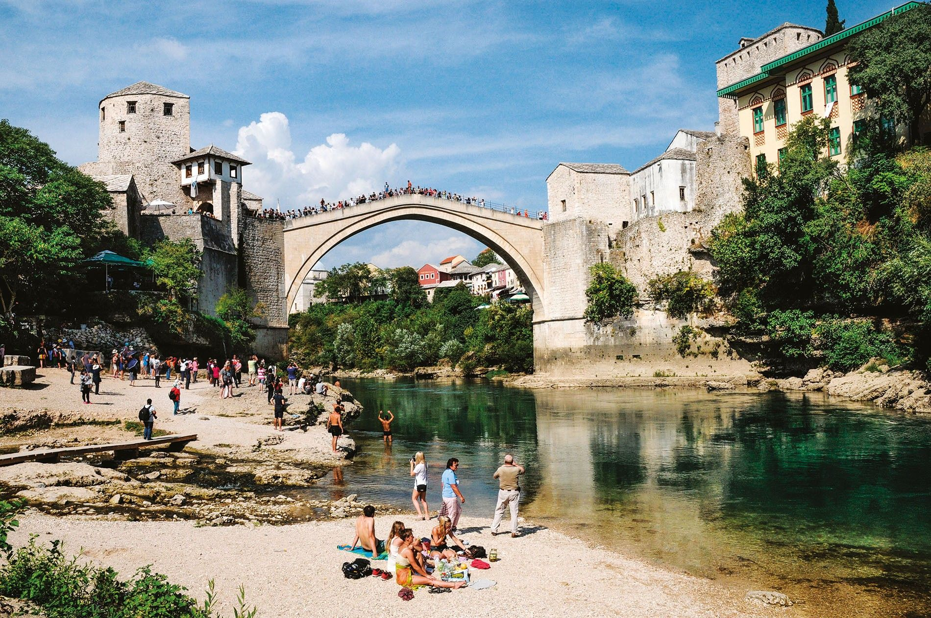 A replica of the 16th-century Star Most (Old Bridge) spans the Neretva River in Mostar