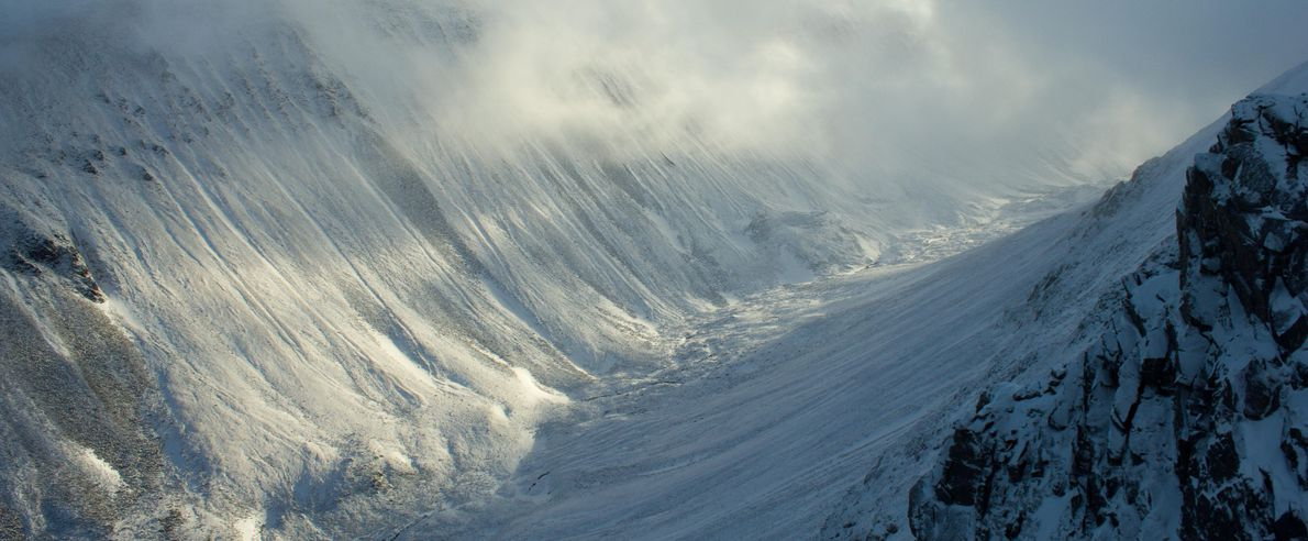 The Lairig Ghru valley cuts the central Cairngorms in half, with steep slopes either side climbing ...
