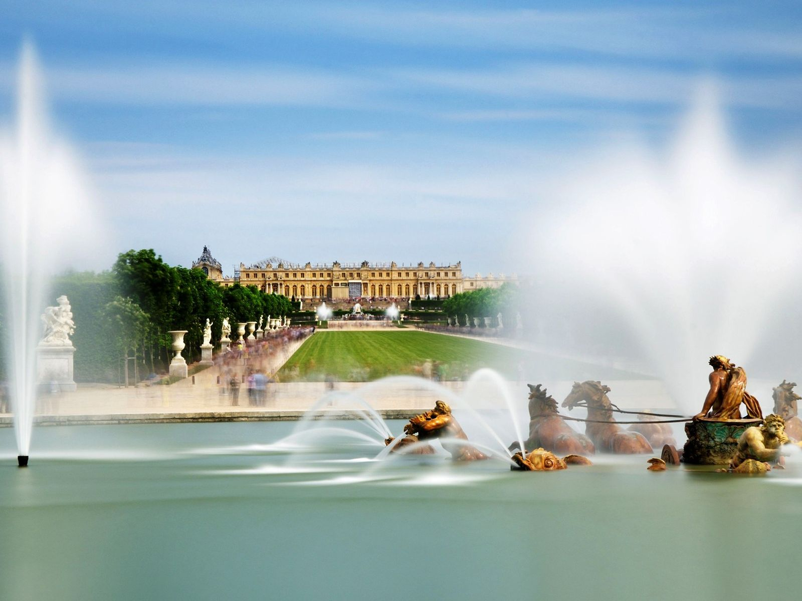 Apollo's Fountain is one of 55 water features at the Palace of Versailles, a UNESCO World ...