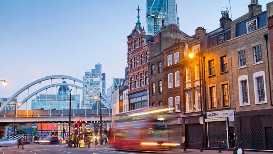 The A10, a road with Roman origins, passes through the Shoreditch district of London's East End, ...