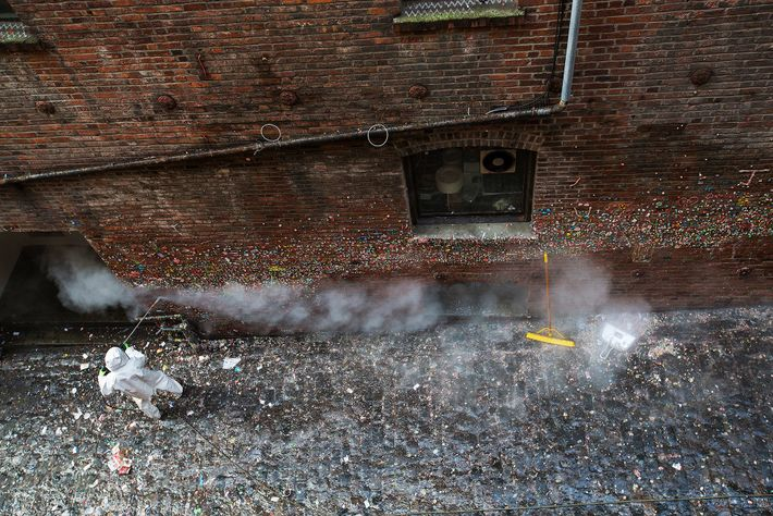 In 2015, the Gum Wall was cleaned for the first time in 20 years—removing about 2,200 ...