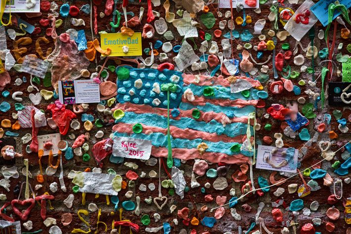 A flag made from chewed gum once hung on the frequently cleaned Gum Wall in Seattle, ...