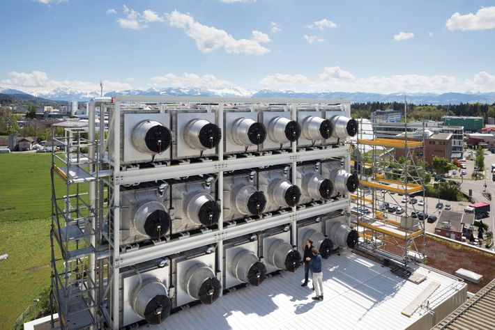 In Hinwil, Switzerland, Climeworks has built a carbon capture plant powered by a waste incinerator. The ...