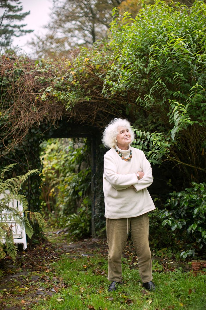 Late in life, Welsh historian, author, and travel writer Jan Morris is shown near her home ...