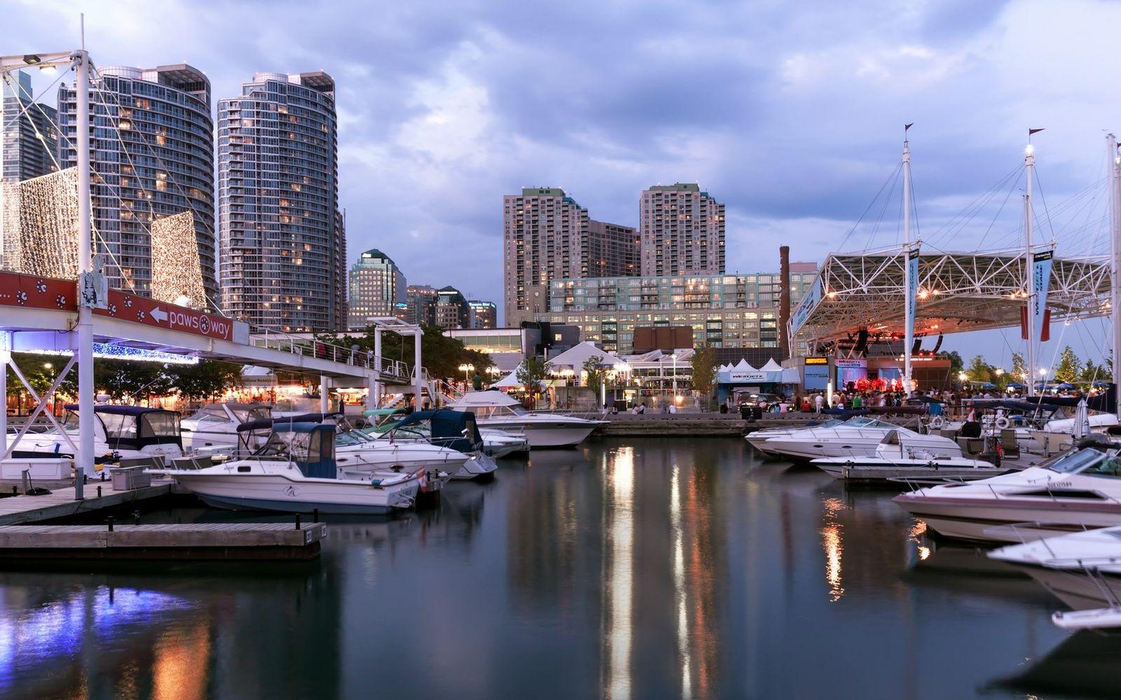 Boats docked at Harbourfront Marina, Toronto.